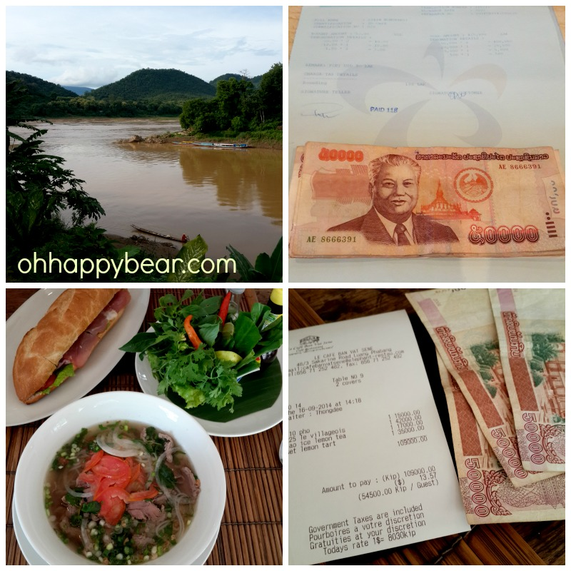 The Mekhong converging to the Mekhan, our FOREX completion, our first meal and the bill.