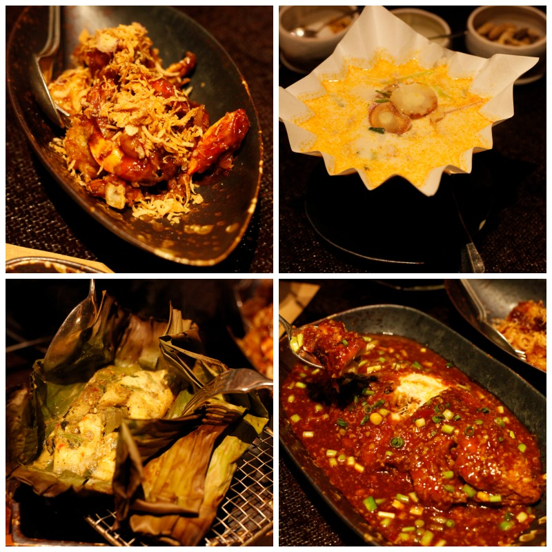 Clockwise: prawns with tamarind sauce, tom yum gai sai hua plee, whole fried fish Szechuan style and baked herbal fish or ap pla.