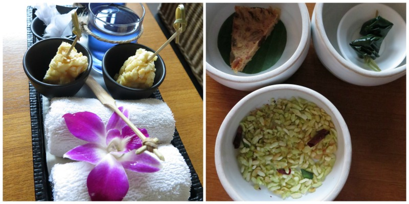 Welcome drinks of butterfly pea drinks and Chiang Mai's own snack of sweet crispy rice on sticks. In-room more welcoming snacks of rice crispy with aromatic Thai herbs, a slice of fruit cake, and a skewer of two very delicious miang kam served in terra cotta tiffin.