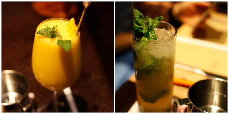 Our virgin mojito and mango smoothies at dinner. So good after a long drive from Bangkok.