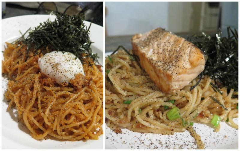 ซ้าย สปาเก็ตตี้ไข่กุ้ง กระเทียม สาหร่สยและไข่ลวก ขวา สปาเก็ตตี้มิโสะ ปลาแซลมอน ร้าน Pastale