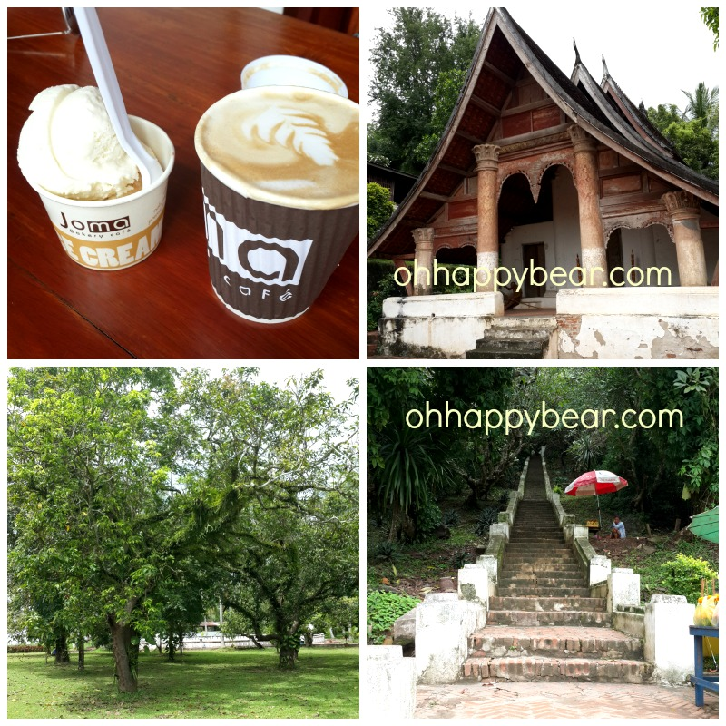A latte and ice cream at Joma, an ancient temple and the stairway up to Phu Si Mountain.