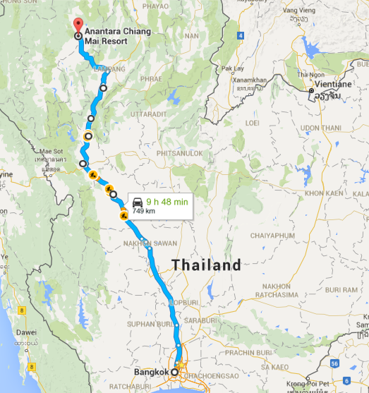 First option: direct, 674-km, route on AH1 via Trat that would roughly take 8 hours.