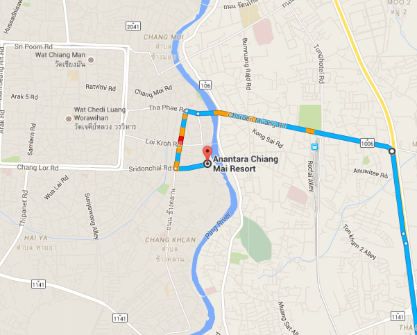 Driving map to the Anantara Chiang Mai which is just right in the city center.